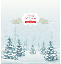 Merry christmas forest winter landscape vector