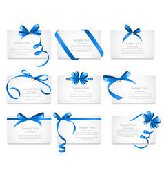 Card with blue ribbon and bow set vector
