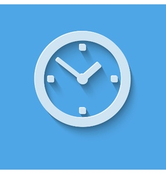 Clock icon flat design with shadow vector