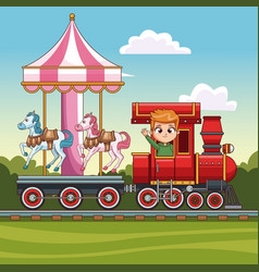 Boy in train with carrousel vector