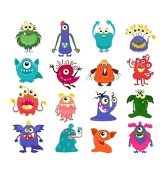 Cartoon cute monsters set vector image vector image