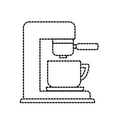 coffee maker with porcelain cup filter machine vector image