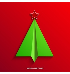concept christmas tree and origami airplane vector image vector image