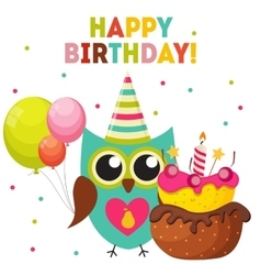 Cute owl happy birthday background with balloons vector