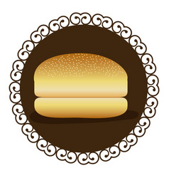 Decorative frame with bread hamburger icon food vector