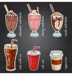 Drinks menu on a black board vector image vector image