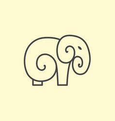 elephant logo design line art vector image
