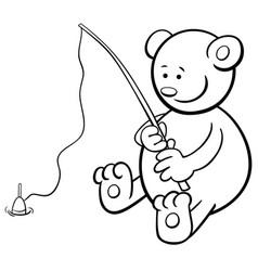 fishing bear coloring book vector image vector image