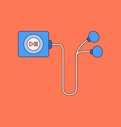 flat on background player with headphones vector image