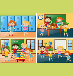 four scenes with students at school vector image vector image