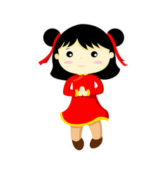 happy cute chinese girl graphic vector image