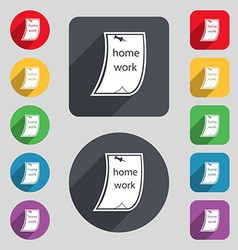 Homework icon sign a set of 12 colored buttons and vector
