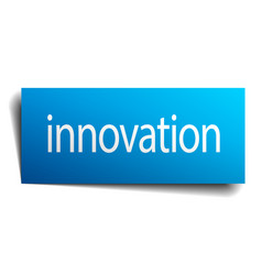 Innovation blue paper sign on white background vector