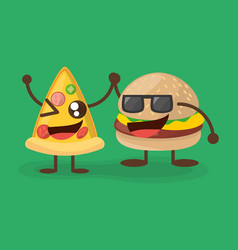 Kawaii burger and pizza character food vector