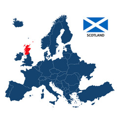Map of europe with highlighted scotland vector