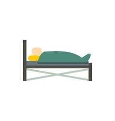 Patient in bed icon flat style vector