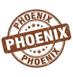 Phoenix brown grunge round vintage rubber stamp vector