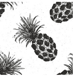 Pineapple hand drawn seamless pattern fruits vector