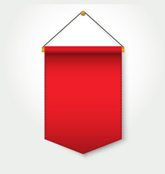 red pennant template hanging on wall vector image vector image