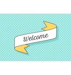 Ribbon banner with text welcome vector