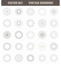 Set of vintage sunburst Geometric shapes and light vector image