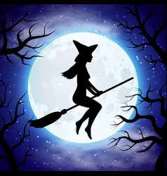 Silhouette of witch flying on the broom in vector