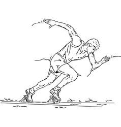 Sprinter in the starting blocks vector