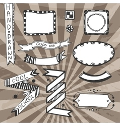 Vintage diy design elements drawing set of vector image