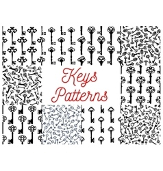 Vintage key victorian skeleton seamless pattern vector image