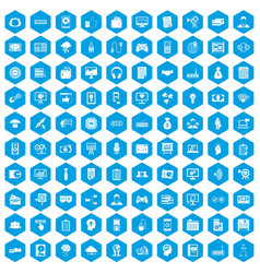 100 it business icons set blue vector