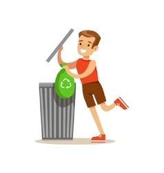 Boy Throwing Away Recycling Waste In Bin Bag vector image