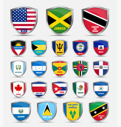 Shields with flags of the countries of north vector