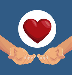 Colorful poster closeup hands holding a heart in vector