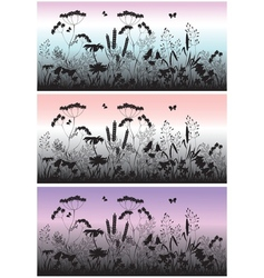 Meadow flowers grass and butterfly at dawn vector