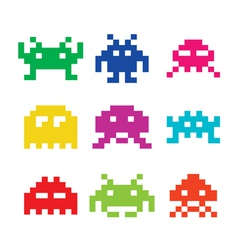 Space invaders 8bit aliens icons set vector
