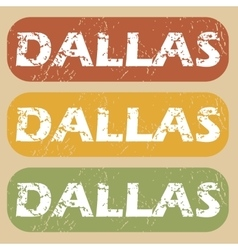 Vintage dallas stamp set vector