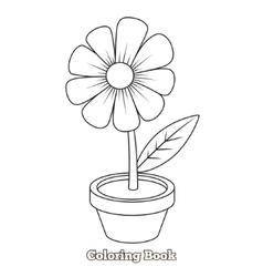 Flower cartoon coloring book vector image