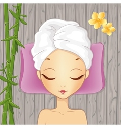 Girl relaxing in the spa vector