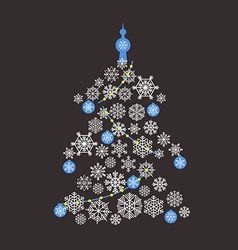 Christmas tree flat design greeting card vector
