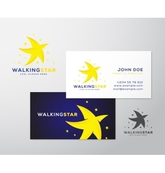 Walking star abstract logo and business vector