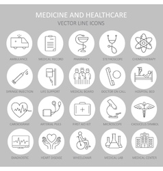 Modern thin round line of icons on medicine vector