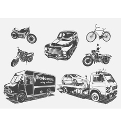Set of transport motorcycle vector