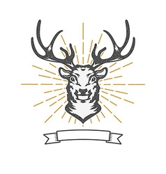 deer head with sun burst vector image