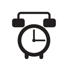 Flat icon in black and white style alarm clock vector