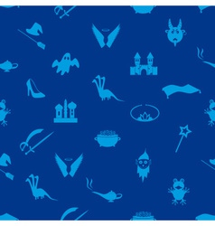 Blue simple fairy tales theme seamless pattern vector