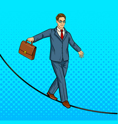 Businessman balancing on rope pop art vector