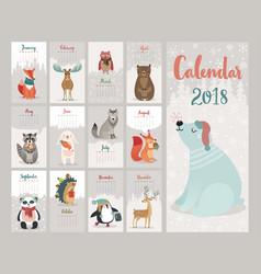 Calendar 2018 cute monthly calendar with forest vector