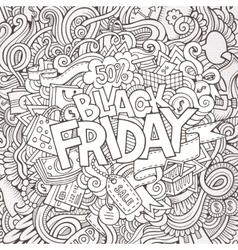 Cartoon cute doodles Black friday inscription vector image