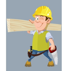 cartoon male worker in a helmet with a hacksaw vector image vector image