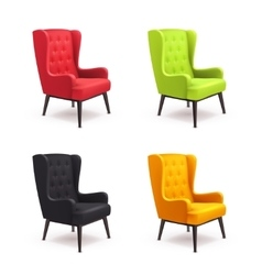 Chair realistic icon set vector